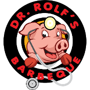 This is the restaurant logo for Dr. Rolf's Barbeque