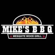 This is the restaurant logo for MIKE'S BBQ Mesquite Wood Grill