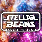 This is the restaurant logo for Stellar Beans Coffee House & Edibles