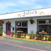 This is the restaurant logo for Julia's Vegetarian Restaurant
