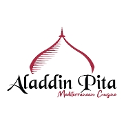 This is the restaurant logo for Aladdin Pita