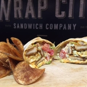 This is the restaurant logo for Wrap City- Londonderry