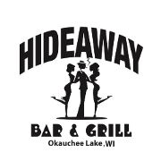 This is the restaurant logo for Hideaway Bar & Grill - Oconomowoc, WI