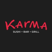 This is the restaurant logo for Karma Sushi Bar and Grill