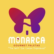 This is the restaurant logo for Monarca Gourmet Paletas