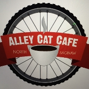 This is the restaurant logo for Alley Cat Cafe