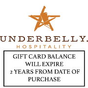 This is the restaurant logo for Underbelly Gift Cards