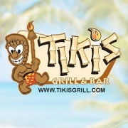 This is the restaurant logo for Tiki's Grill & Bar