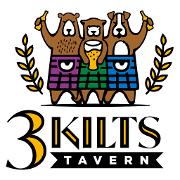 This is the restaurant logo for 3 Kilts Tavern