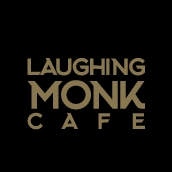 This is the restaurant logo for Laughing Monk Café