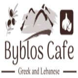 This is the restaurant logo for Cafe Byblos Greek and Lebanese