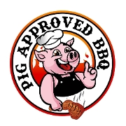 This is the restaurant logo for Pig Approved BBQ