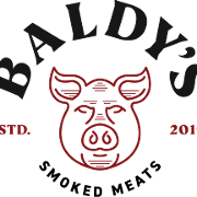 This is the restaurant logo for Baldy's Smoked Meats