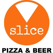 This is the restaurant logo for Slice Pizza and Beer