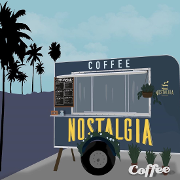 This is the restaurant logo for NOSTALGIA COFFEE