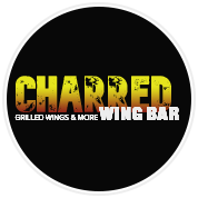 This is the restaurant logo for CHARRED   Wing Bar