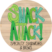 This is the restaurant logo for Snack Attack Specialty Sandwiches & Brews