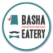 This is the restaurant logo for Basha Mediterranean Eatery