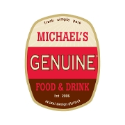 This is the restaurant logo for Michael's Genuine Food & Drink