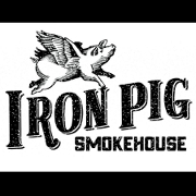 This is the restaurant logo for Iron Pig Smokehouse