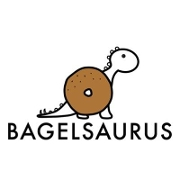This is the restaurant logo for Bagelsaurus