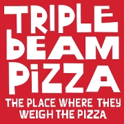 This is the restaurant logo for Triple Beam Pizza