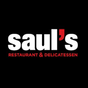This is the restaurant logo for Saul's Restaurant and Delicatessen