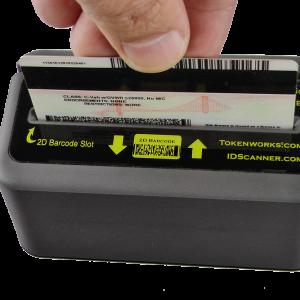IDWedgeKB Tokenworks ID Scanner swiping a card