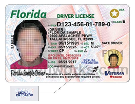 Florida Driver's License - sexual predator designation