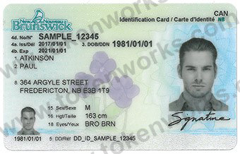 New Brunswick Canadian Driver's License Design with new Security Features