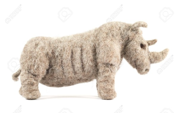 21021080-Rhinoceros-rhino-sculpture-made-of-woollen-felt-cloth-isolated-over-white-background-Stock-Photo