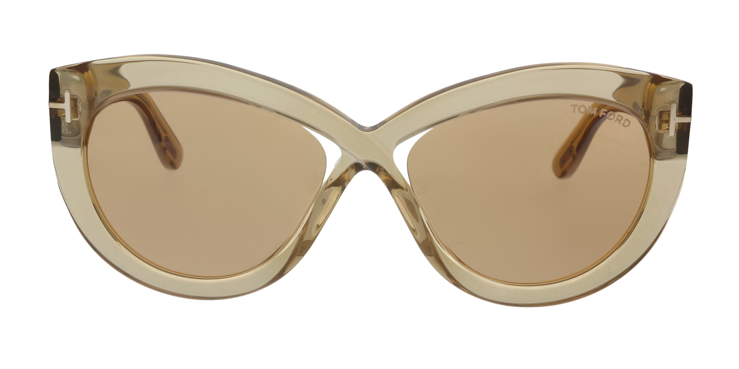 4c3b5ce4b56f4 Tom Ford FT0577 45E Diane-02 Shiny Light Brown Butterfly Sunglasses ...