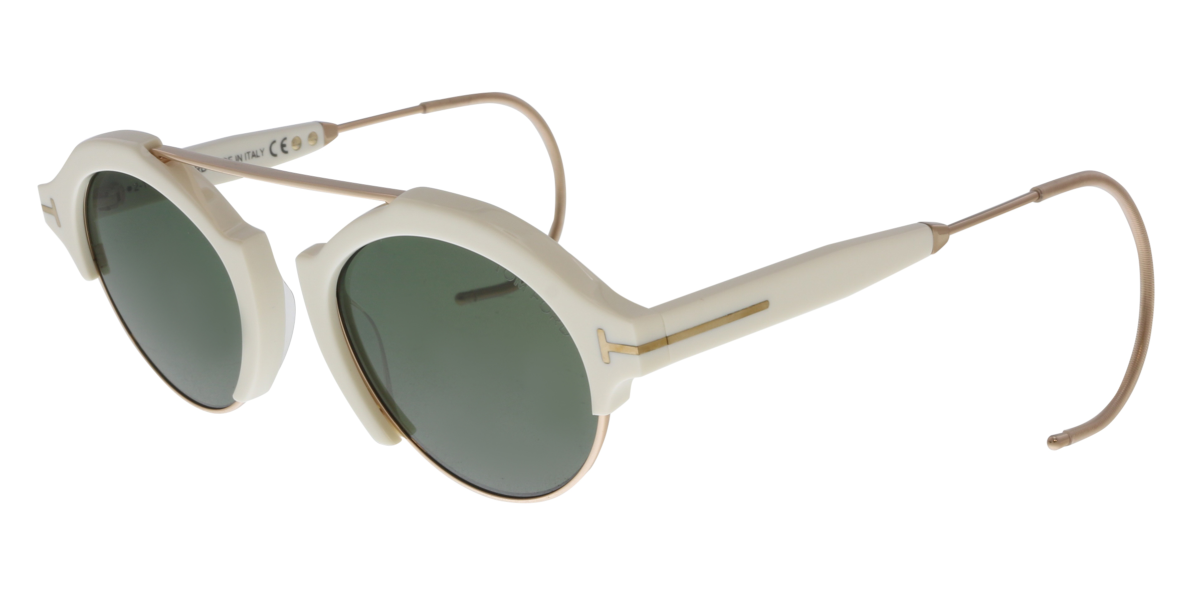 5e9bc227949 Tom Ford FT0631 25N Farrah-02 Ivory Gold Round Sunglasses