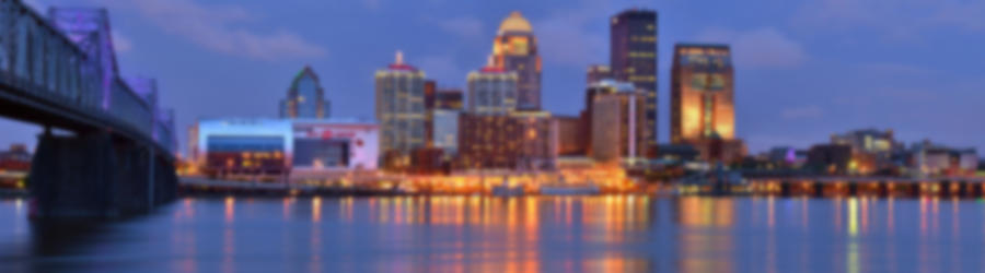 Louisville skyline at dusk sunset panorama kentucky jon holiday
