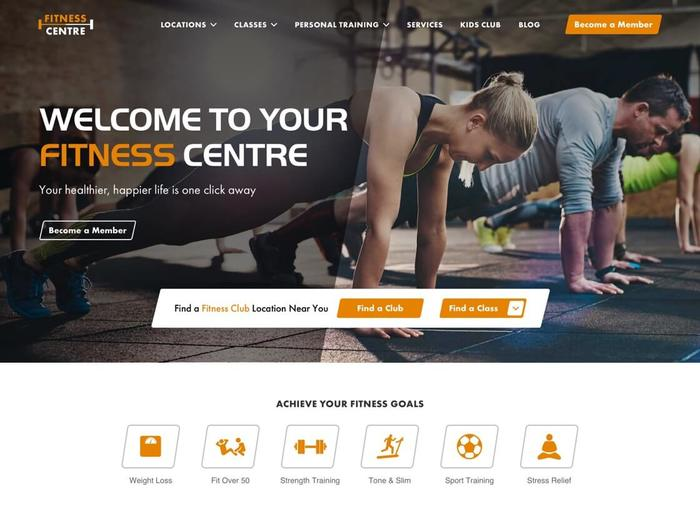 Fitness centre responsive website home page