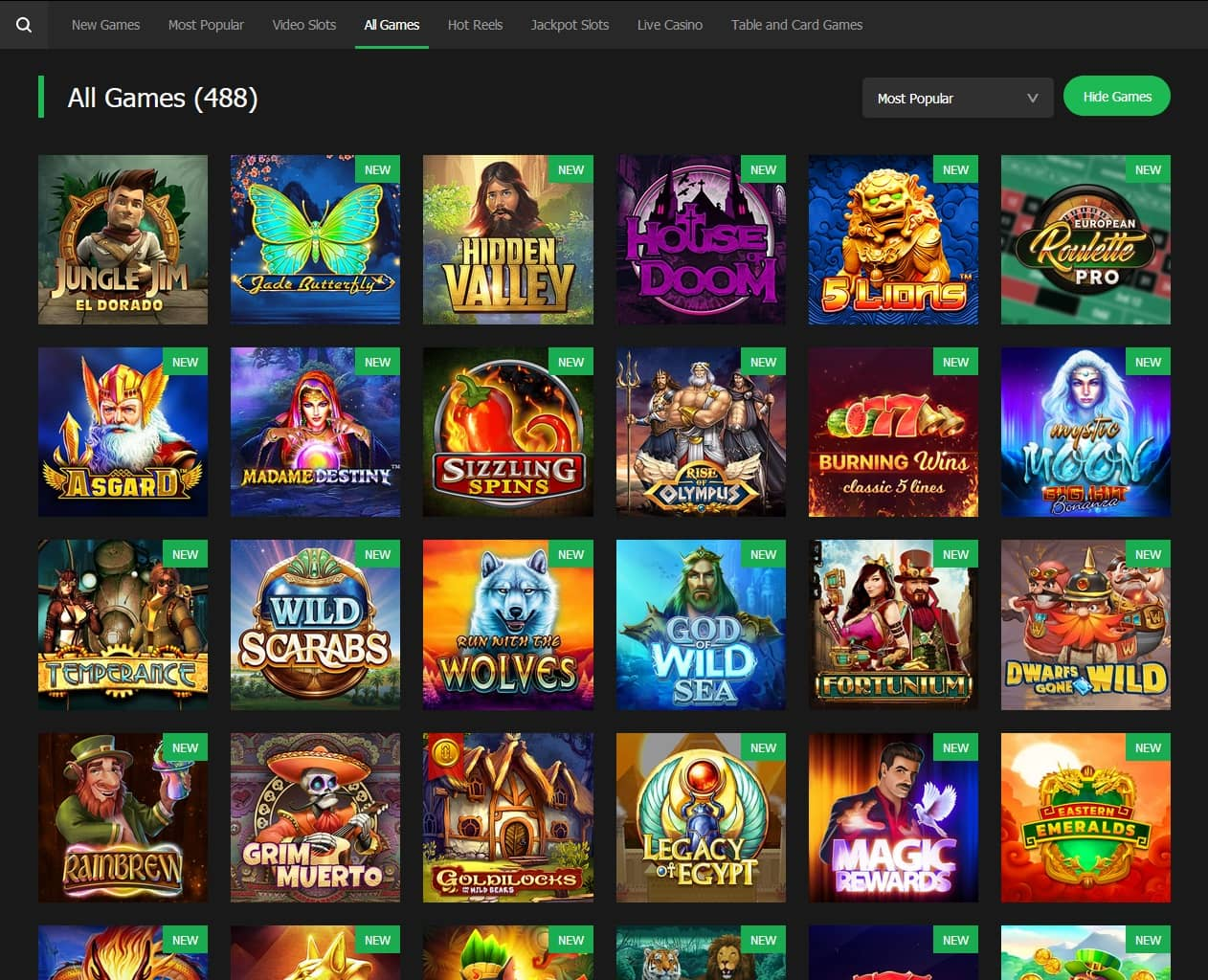 10Bet Casino games