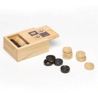 Conjunto de peças em madeira para jogo de damas