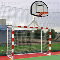 Conjunto polidesportivo constituído por uma baliza de andebol/futsal e uma tabela de basquetebol