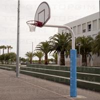Conjunto completo de Mini-Basquetebol composto por: poste, tabela, aro e rede