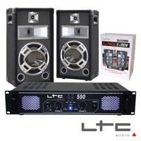 "Pack Amplificador 2x250W 19"" 2 Colunas 3 vias 10"" 400W max LTC"