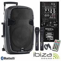 """Sistema de som portátil Ibiza 15"""" com bateria interna e microfone sem fios"""