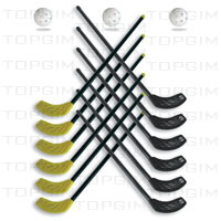 Conjunto de 12 sticks com 85cm (6 de cada cor) e 3 bolas para Floorball/Unihockey