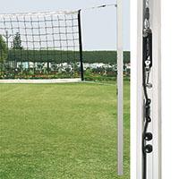 Par de postes de voleibol em alumínio de perfil quadrado de 80mm