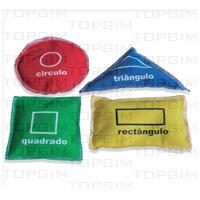 Conjunto de 4 sacos em algodão com formas geométricas: quadrado, triângulo, círculo e rectângulo