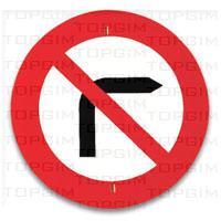 Sinal de trânsito para educação rodoviária: Proibição de Virar à Direita