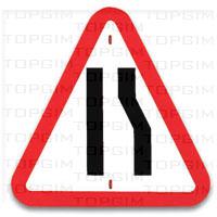 Sinal de trânsito para educação rodoviária: Passagem Estreita