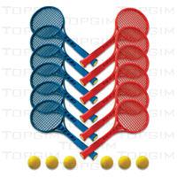 Conjunto de 12 raquetes de mini-ténis + 6 bolas de espuma.