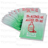 Lote de 10 tampões embebidos em álcool a 70º.