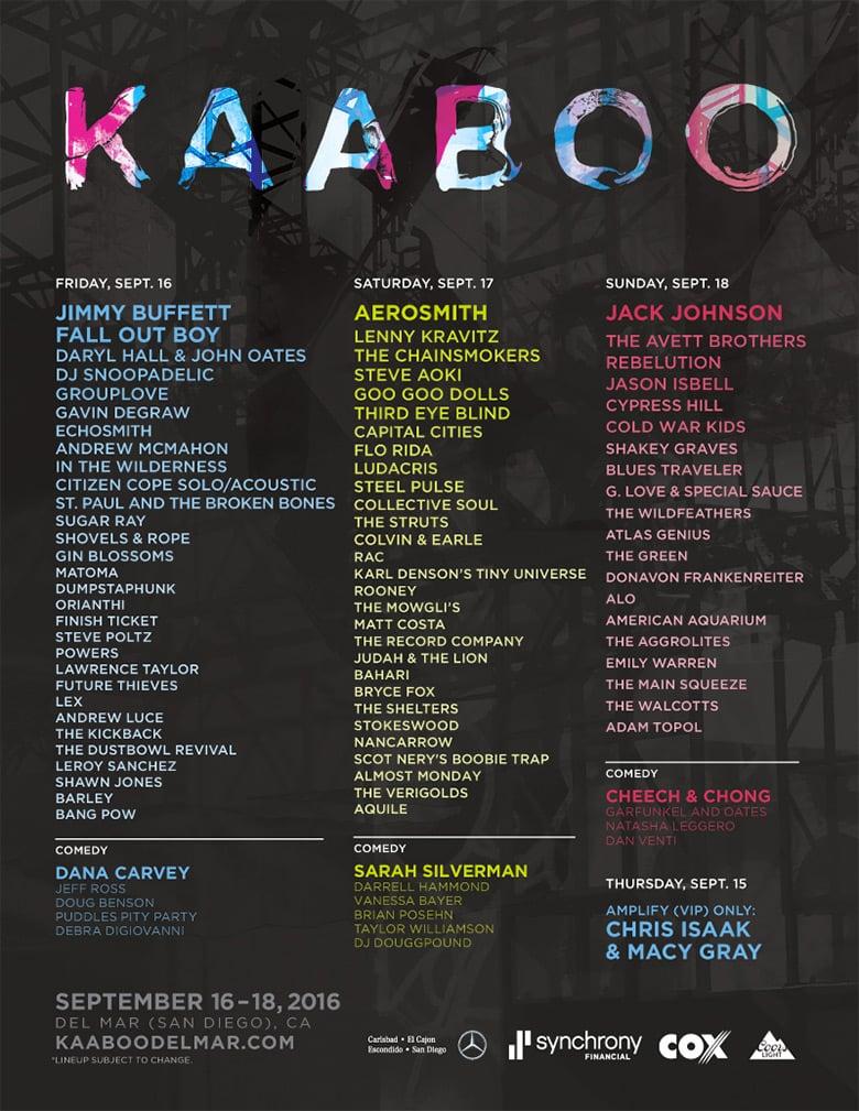 KAABOO Schedule