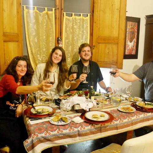Dining experience in Florence with host Elisabetta and her guests from USA. Cheers!